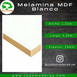 Melamina MDF Blanco 15mm